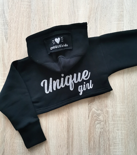 Crop mikina Unique Girl Black Silver