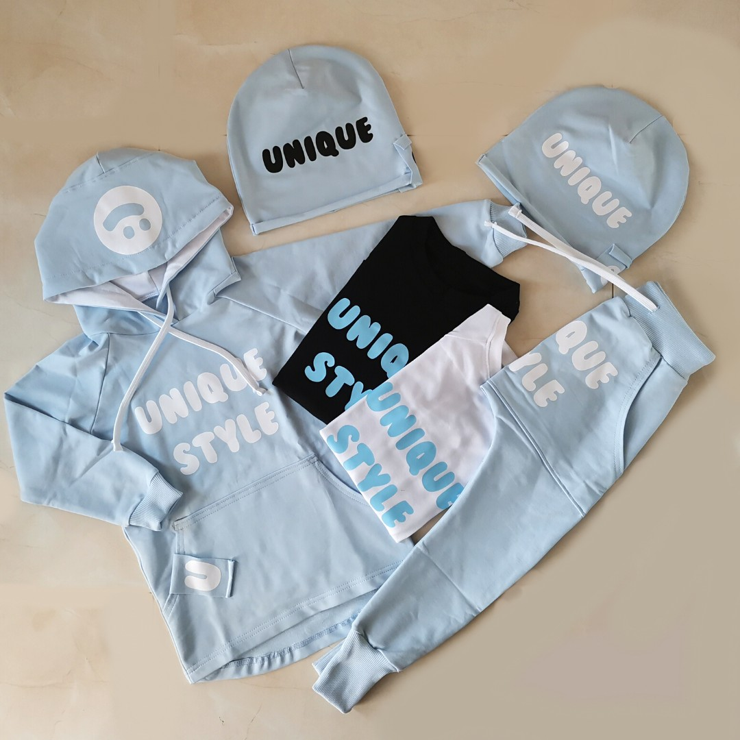 Mikina Unique SMILE Baby Blue - White