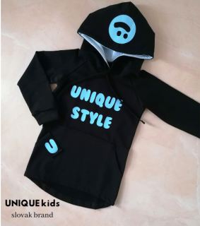 Mikina Unique SMILE Black - BabyBlue