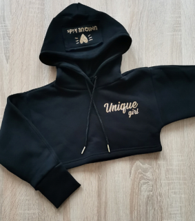 Crop mikina Unique Girl Black Gold
